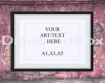 Download Free DIY Picture Frame A1,A3,A5,Horizontal Black Frame,Display Box,Wall Brick,Framed Art,Wall Art, Poster Mockup,backdrop,INSTANT DOWNLOAD PSD Template