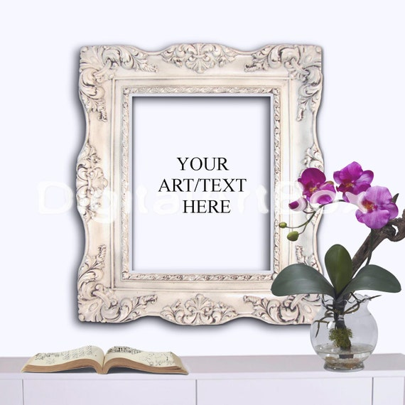 8x10 Vertical White Baroque Frame, White Background 16x20 Poster ...
