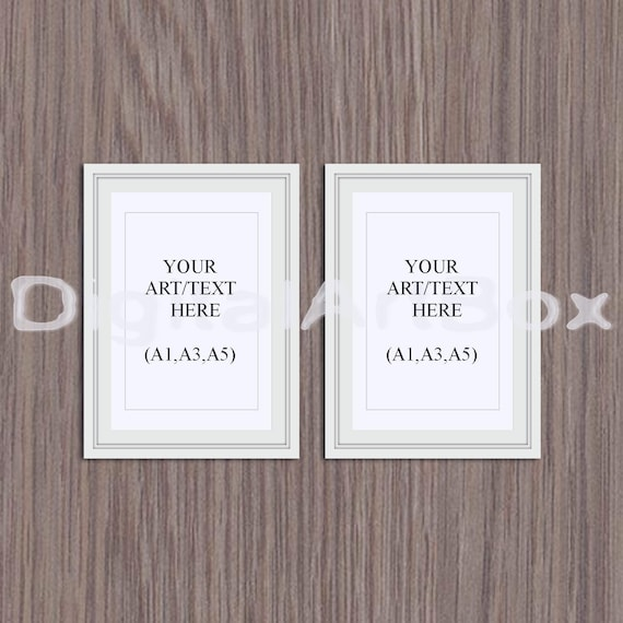 Set of two frames,A5,A3,A1, White Frame Mockup,Wood Background ...