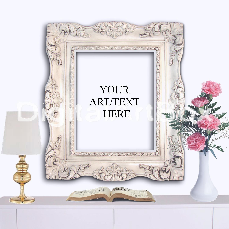 Marco oro 8 x 10 maqueta de marco barroco blanco Poster 16 x   Etsy