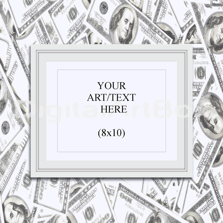 Maqueta de marco blanco Horizontal de 8 x 10, imprimir dinero estilo ...