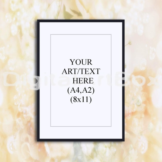 8x11 Vertical Black Frame Mockupfloral Display Boxsimple Etsy