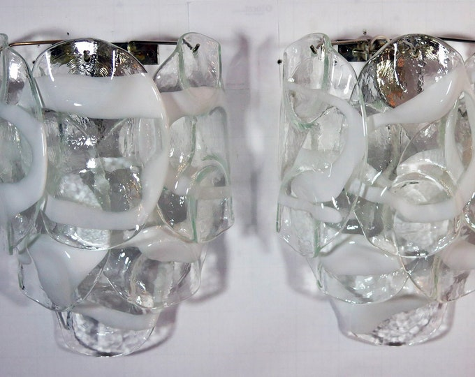 1970's Pair of Vintage Italian Murano wall lights.