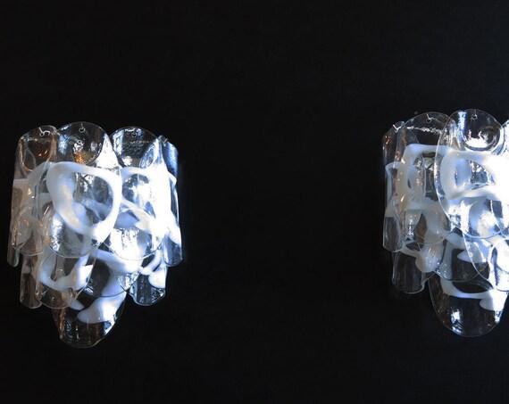 1970's Pair of Vintage Italian Murano wall lights - 10 white lattimo glasses