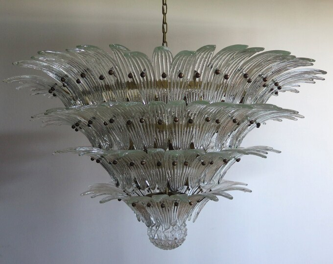 Palmette Ceiling Light - four levels, 163 trasparent glasses