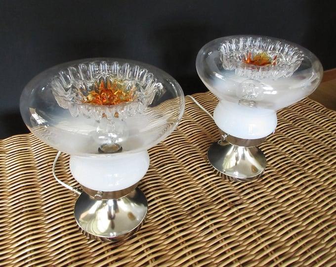 Pair of Italian vintage Murano caramel glass table lamp - Mazzega style