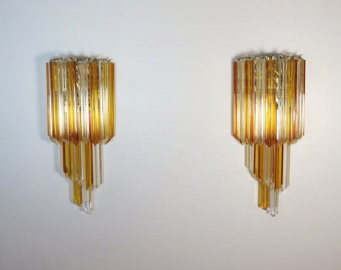 Pair of vintage Murano wall sconce – 32 quadriedri amber and trasparent prism