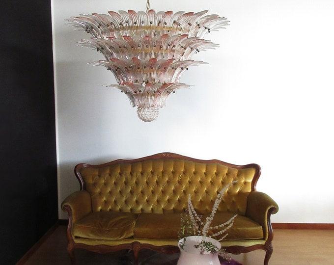 Palmette Ceiling Light - four levels, 163 pink and trasparent glasses