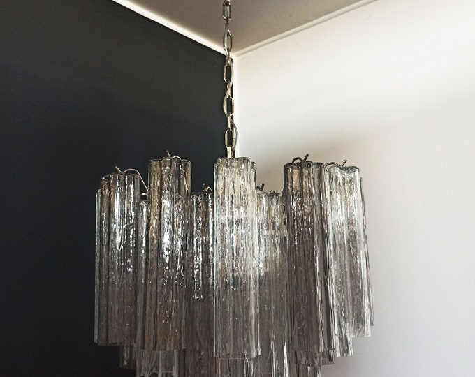 Fantastic Murano Glass Tube Chandelier - 36 smoked and clear glass tube