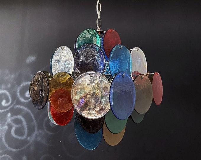 1970's Vintage Italian Murano chandelier - 36 multicolored disks