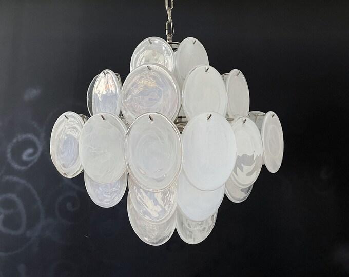 1970's Vintage Italian Murano chandelier - 36 white disks