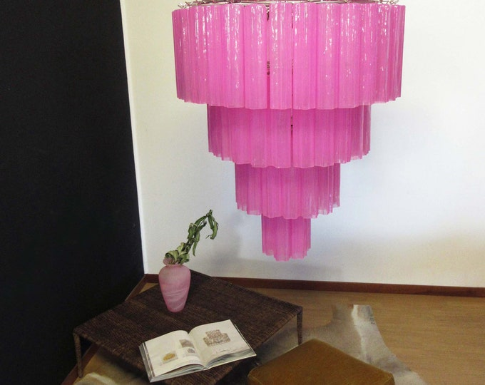 Huge Vintage Murano Glass Tiered Chandelier - 78 glasses - pink fuxia silk