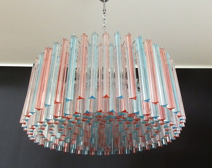 Large Triedri Murano glass Chandelier - 265 pink and blue prism