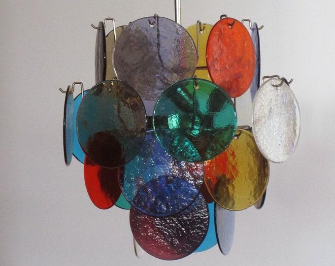 Vintage Italian Murano chandelier lamp in Vistosi style - 24 disks