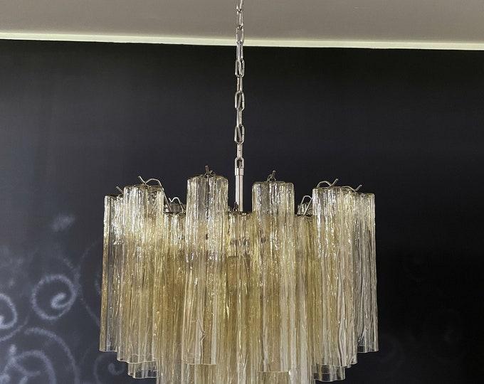 Fantastic Murano Glass Tube Chandelier - 36 clear amber glass tube