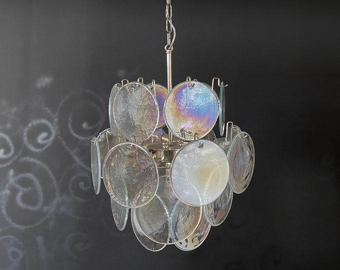 1970's Vintage Italian Murano chandelier - 24 iridescent disks