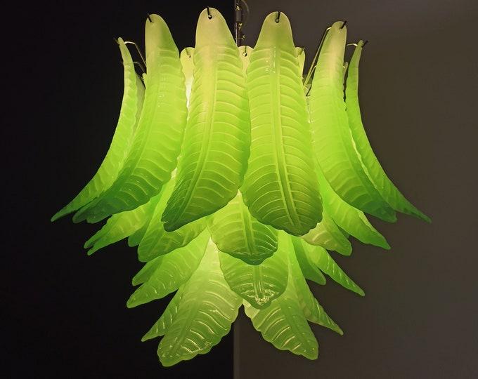 Italian Murano Six-Tier Felci Glass chandelier - 36 opal green glasses