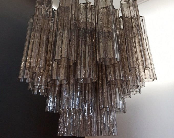 RESERVED: Fantastic Murano Glass Tube Chandelier - 36 smoked glass tube