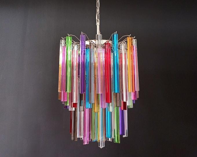 Murano chandelier multicolor triedri – 107 prism - Mariangela model