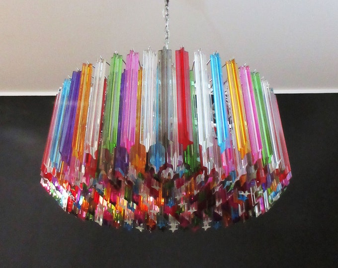 Large Triedri Murano glass Chandelier - 265 multicolored prism