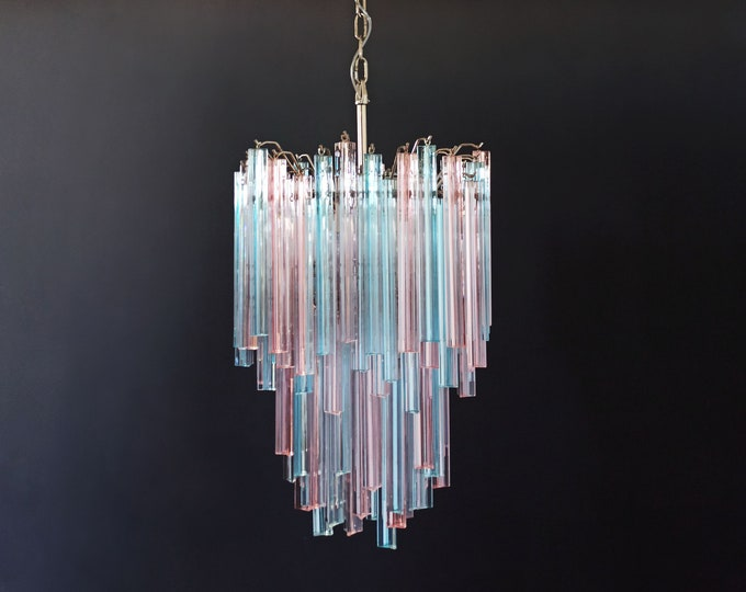 Murano chandelier triedri – 92 prism - multicolored glasses