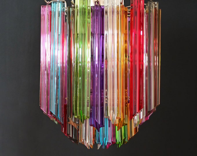 Quadriedri Murano chandelier – 47 multicolored prisms