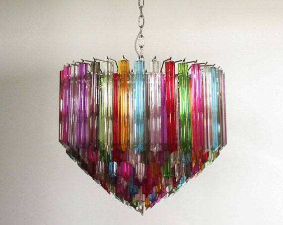 Modern Quadriedri Murano glass Chandelier - 163 trasparent prism quadriedri multicolor