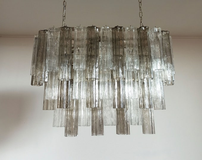 Elegant Murano tube Chandelier - 62 traparent and smoked glasses