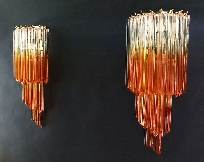 Pair of vintage Murano wall sconce – 32 quadriedri trasparent and amber prism