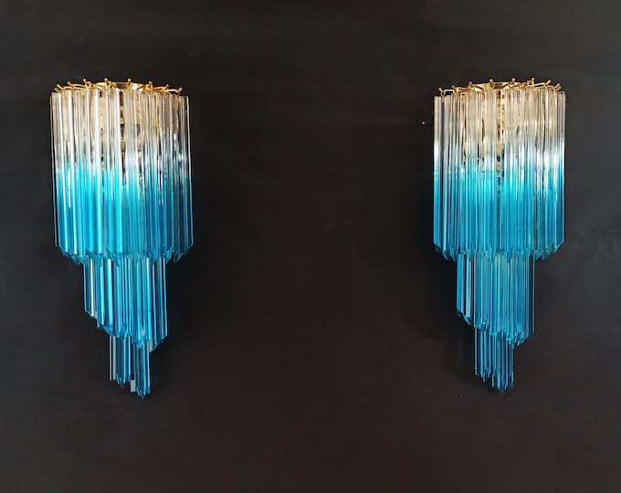 Pair of vintage Murano wall sconce – 32 quadriedri trasparent and blue prism
