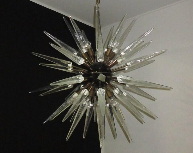 Exceptional Murano trasparent Glass Sputnik Chandelier - 51 glasses