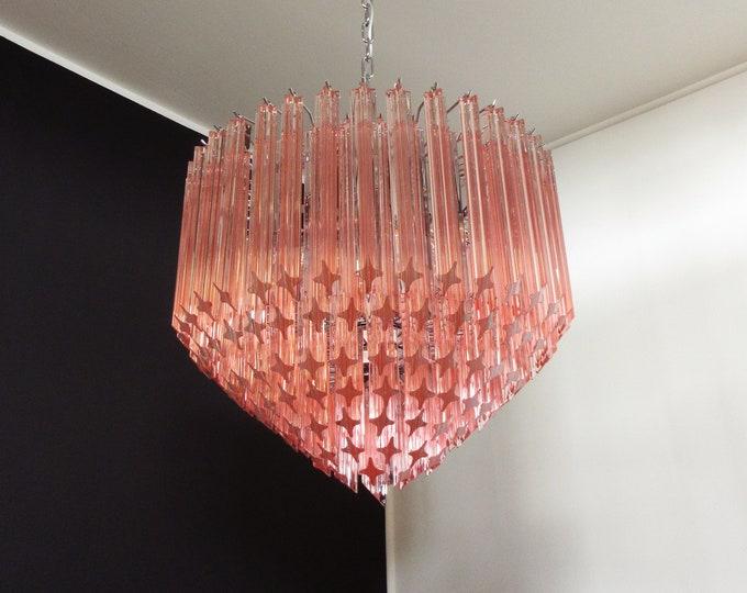 Modern Quadriedri Murano glass Chandelier - 163 pink prism quadriedri