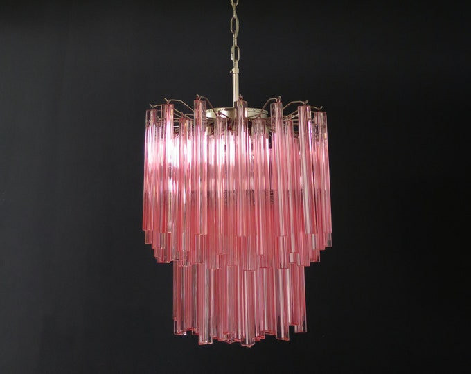 Murano chandelier 107 pink triedri