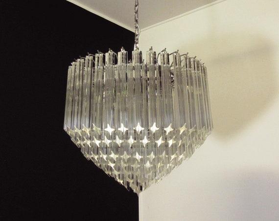 Modern Quadriedri Murano glass Chandelier - 163 trasparent prism quadriedri