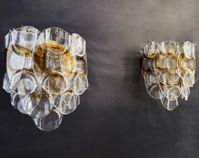 1970's Pair of Vintage Italian Murano wall lights - 10 white amber trasparent glasses
