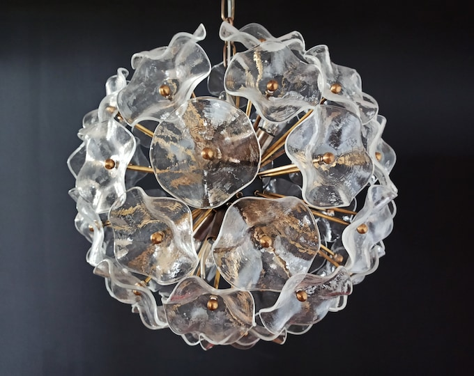 Vintage Sputnik Italian crystal chandelier – 51 clear glasses