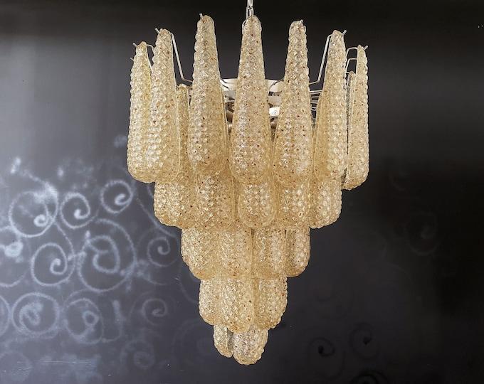 Italian vintage Murano chandelier - 52 amber glass petals drop
