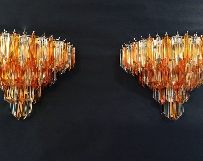 Pair of vintage Murano wall sconce – 63 clear and amber quadriedri