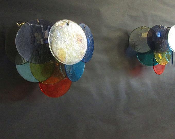 1970' s Pair of Vistosi sconces - 10 multicolored Murano Glasses