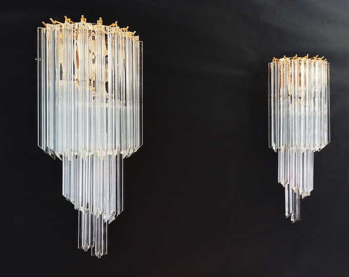Pair of vintage Murano wall sconce – 16 quadriedri trasparent prism - golden frame