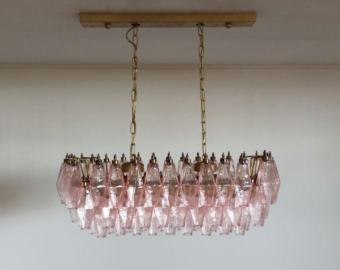Elegant Murano Poliedri Chandelier - Carlo Scarpa - 84 pink glasses