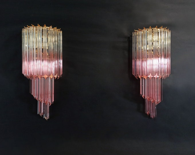 Pair of vintage Murano wall sconce – 32 quadriedri trasparent and pink prism