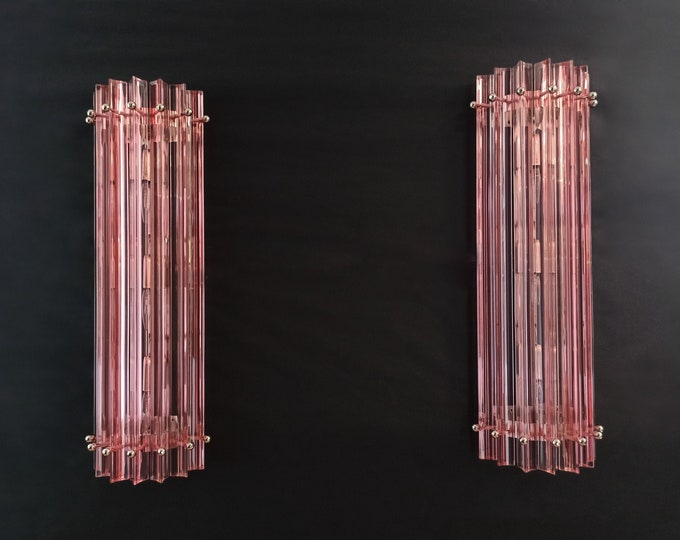Pair of vintage Murano wall sconce – PINK triedri - Column Mariangela model