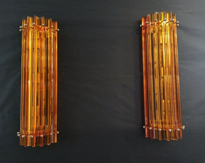 Pair of vintage Murano wall sconce – amber triedri - Column Mariangela model
