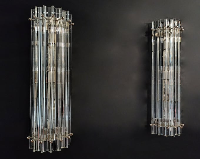 Pair of vintage Murano wall sconce – clear triedri - Column model