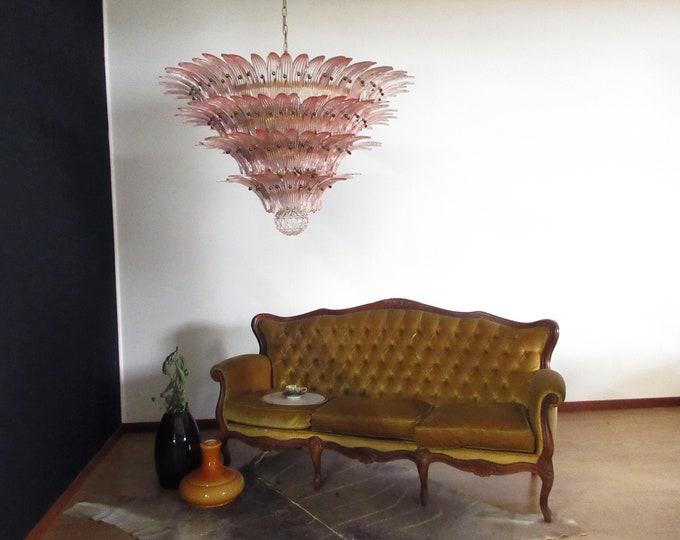 Palmette Ceiling Light - four levels, 163 pink glasses