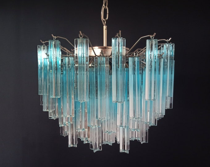 Gorgeous Murano vintage chandelier – 107 quadriedri blue shade