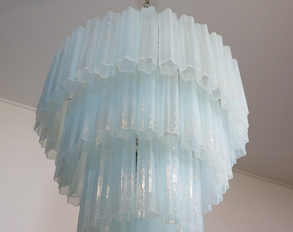 Huge Vintage Murano Glass Tiered Chandelier - 78 glasses - opal silk