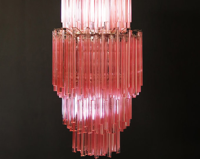 Huge Murano chandelier multicolor Pink triedri – 242 prism