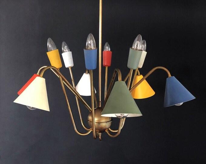 1950's Italian atomic chandelier in the style of Angelo Lelli - 12 light